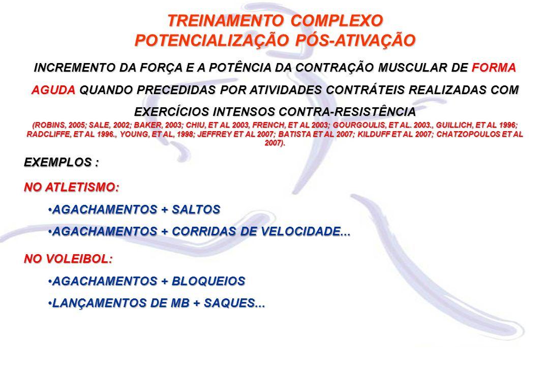TREINAMENTO COMPLEXO POTENCIALIZAÇÃO PÓS-ATIVAÇÃO INCREMENTO DA FORÇA E A POTÊNCIA DA CONTRAÇÃO MUSCULAR DE FORMA AGUDA QUANDO PRECEDIDAS POR ATIVIDADES CONTRÁTEIS REALIZADAS COM EXERCÍCIOS INTENSOS CONTRA-RESISTÊNCIA (ROBINS, 2005; SALE, 2002; BAKER, 2003; CHIU, ET AL 2003, FRENCH, ET AL 2003; GOURGOULIS, ET AL.