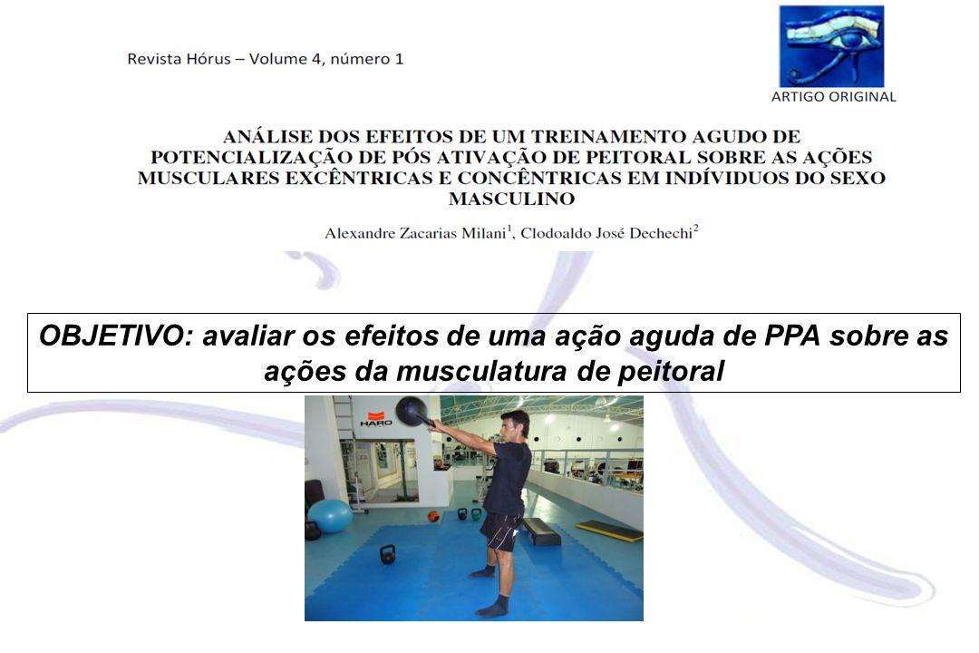 OBJETIVO: avaliar os efeitos de uma ação aguda de PPA sobre as ações da musculatura de peitoral