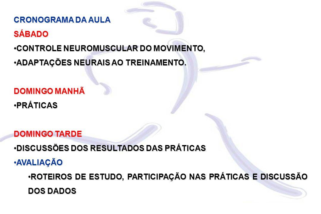CRONOGRAMA DA AULA SÁBADO CONTROLE NEUROMUSCULAR DO MOVIMENTO,CONTROLE NEUROMUSCULAR DO MOVIMENTO, ADAPTAÇÕES NEURAIS AO TREINAMENTO.ADAPTAÇÕES NEURAIS AO TREINAMENTO.