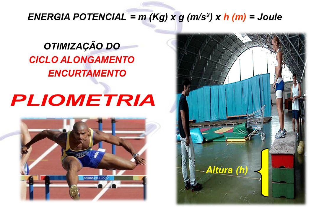 ENERGIA POTENCIAL = m (Kg) x g (m/s 2 ) x h (m) = Joule Altura (h) OTIMIZAÇÃO DO CICLO ALONGAMENTO ENCURTAMENTO