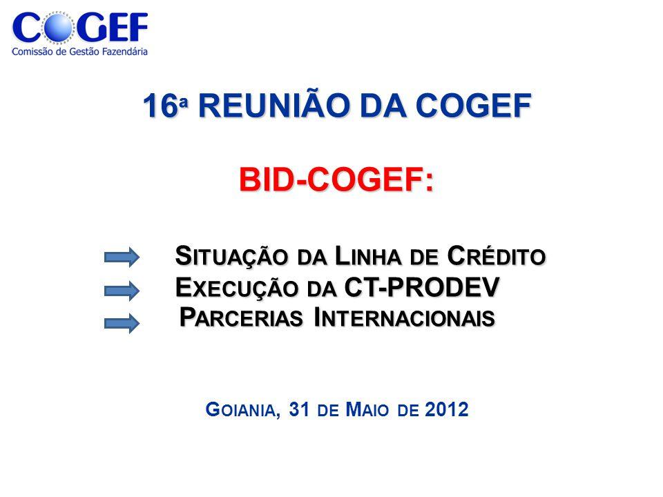 16 ª REUNIÃO DA COGEF BID-COGEF: S ITUAÇÃO DA L INHA DE C RÉDITO E XECUÇÃO DA CT-PRODEV P ARCERIAS I NTERNACIONAIS 16 ª REUNIÃO DA COGEF BID-COGEF: S ITUAÇÃO DA L INHA DE C RÉDITO E XECUÇÃO DA CT-PRODEV P ARCERIAS I NTERNACIONAIS G OIANIA, 31 DE M AIO DE 2012