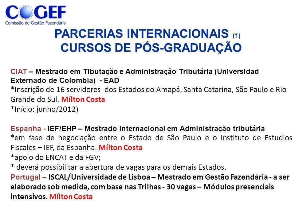 PARCERIAS INTERNACIONAIS (1) CURSOS DE PÓS-GRADUAÇÃO CIAT – Mestrado em Tibutação e Administração Tributária (Universidad Externado de Colombia) - EAD *Inscrição de 16 servidores dos Estados do Amapá, Santa Catarina, São Paulo e Rio Grande do Sul.