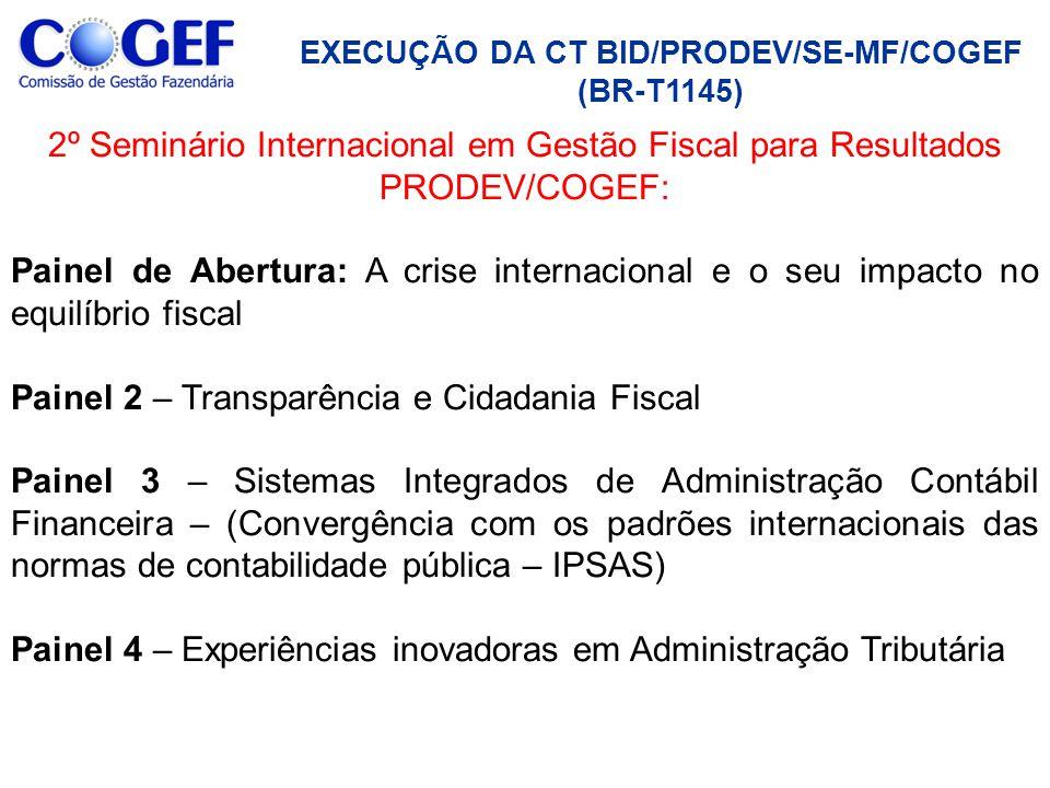 2º Seminário Internacional em Gestão Fiscal para Resultados PRODEV/COGEF: Painel de Abertura: A crise internacional e o seu impacto no equilíbrio fisc