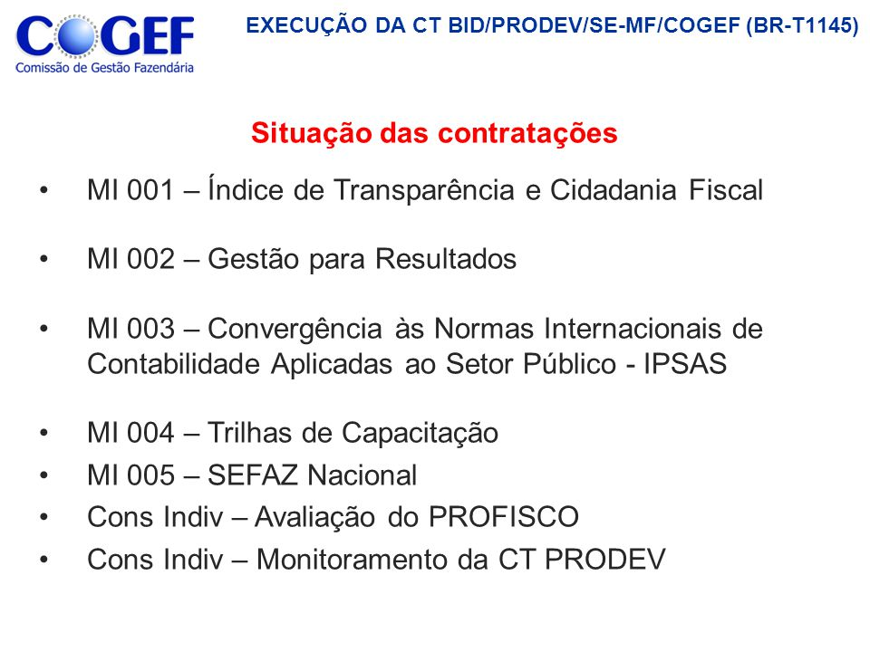 P1 Produto 1: Plano de Trabalho e Estudos de sites dos Estados Brasileiros e de modelos de avaliação de transparência utilizados no Brasil e em outros países (Abril/2012) P2 Produto 2: Auto-avaliação dos Estados P3 Produto 3: Diagnóstico preliminar e elaboração do primeiro modelo do ITCF P5 P6 P5 ÍNDICE DE TRANSPARÊNCIA E CIDADANIA FISCAL (COGEF/GEFIN/ENCAT/GDFAZ/CONFAZ) Objetivo: Realizar pesquisa aplicada com o escopo de: (i) Construir um Índice de Transparência e Cidadania Fiscal (ITCF); e(ii) Elaborar um Diagnóstico Nacional da Transparência e da Cidadania Fiscal Contratado: NÚCLEO DE ESTUDOS FISCAIS/FUNDAÇÃO GETÚLIO VARGAS (NEF/FGV) Duração do Contrato: 12 (doze) meses ENTREGUECONCLUÍDO EM ANDAMENTO P4 Produto 4: Versão final da construção do ITCF P5 Produto 5: Avaliações do ITCF (10 pilotos) A REALIZAR Produto 6: Relatório Final sobre o Projeto P6