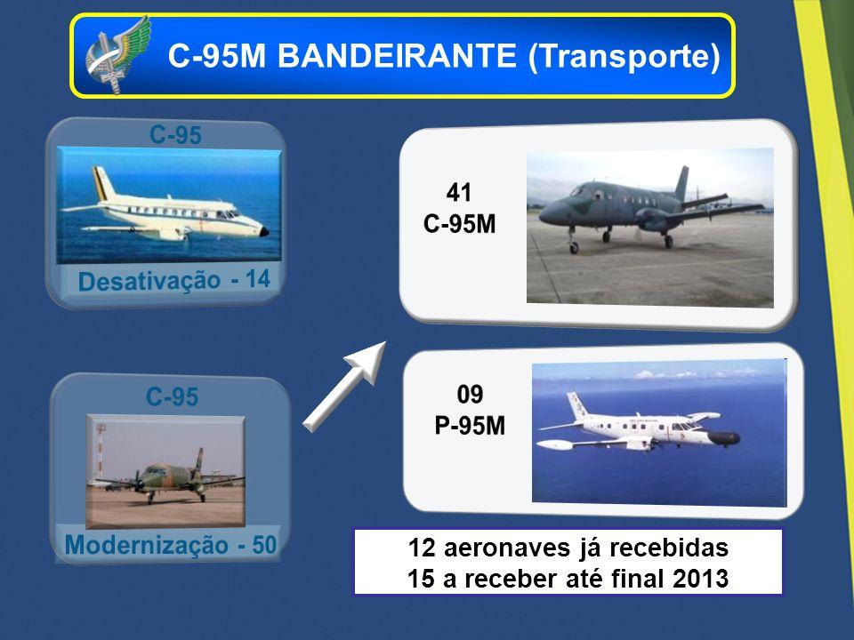 12 aeronaves já recebidas 15 a receber até final 2013 C-95M BANDEIRANTE (Transporte)