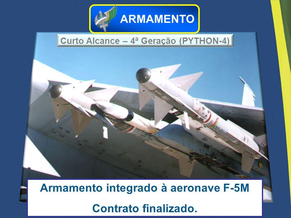 Curto Alcance – 4ª Geração (PYTHON-4) Armamento integrado à aeronave F-5M Contrato finalizado. ARMAMENTO