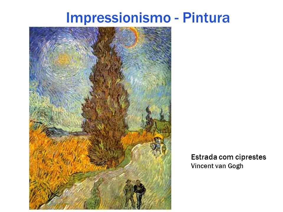Impressionismo - Pintura Estrada com ciprestes Vincent van Gogh