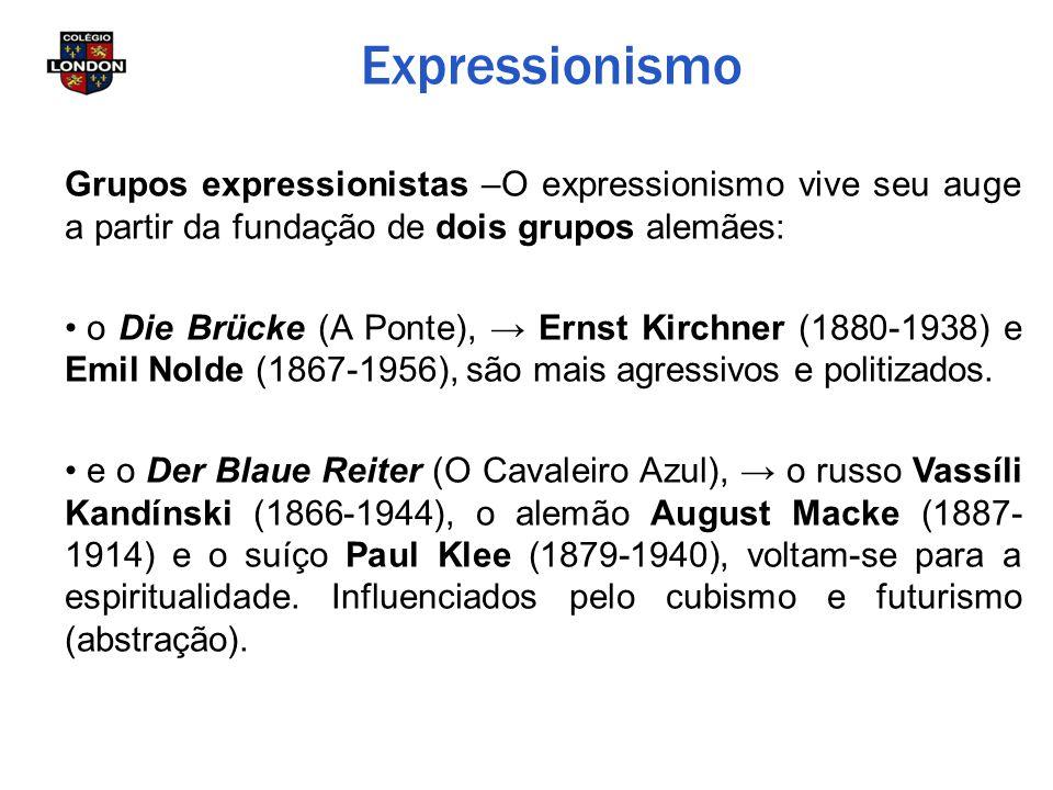 Expressionismo Grupos expressionistas –O expressionismo vive seu auge a partir da fundação de dois grupos alemães: o Die Brücke (A Ponte), → Ernst Kir