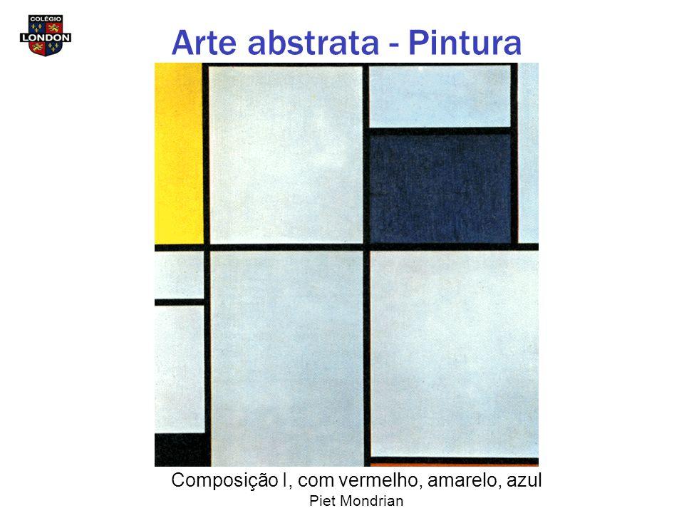 Composição I, com vermelho, amarelo, azul Piet Mondrian Arte abstrata - Pintura