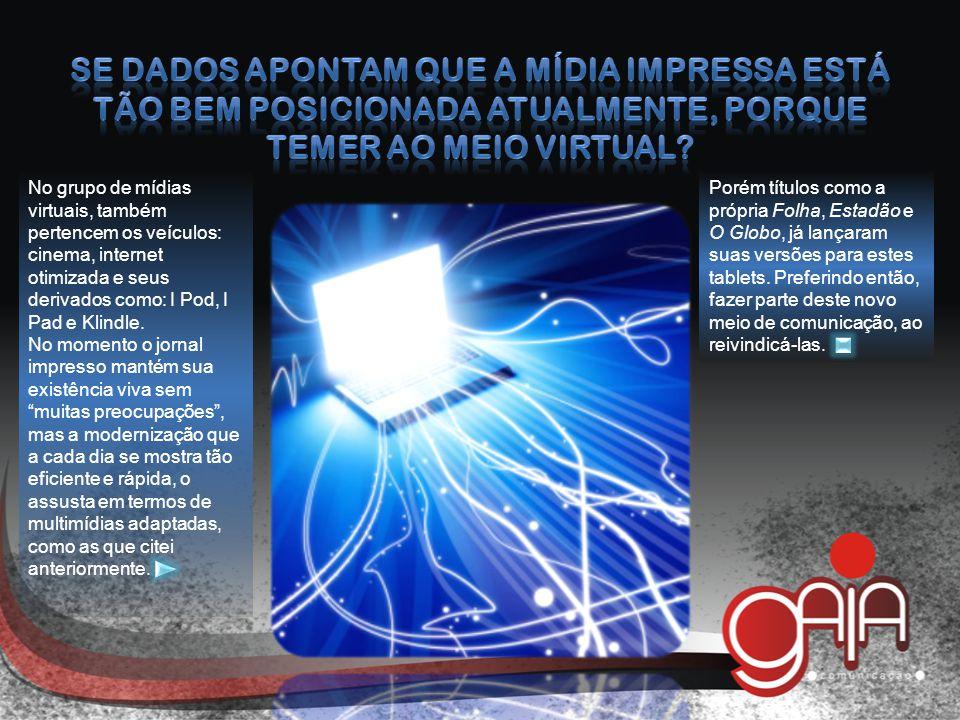 No grupo de mídias virtuais, também pertencem os veículos: cinema, internet otimizada e seus derivados como: I Pod, I Pad e Klindle.