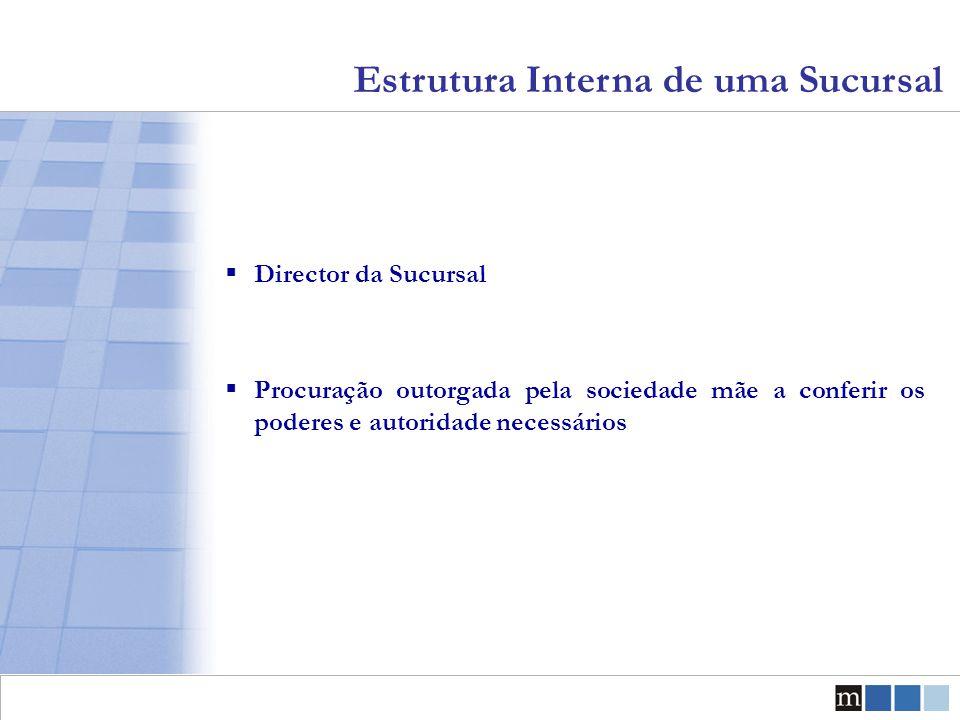 Estrutura Interna de uma Sucursal  Director da Sucursal  Procuração outorgada pela sociedade mãe a conferir os poderes e autoridade necessários