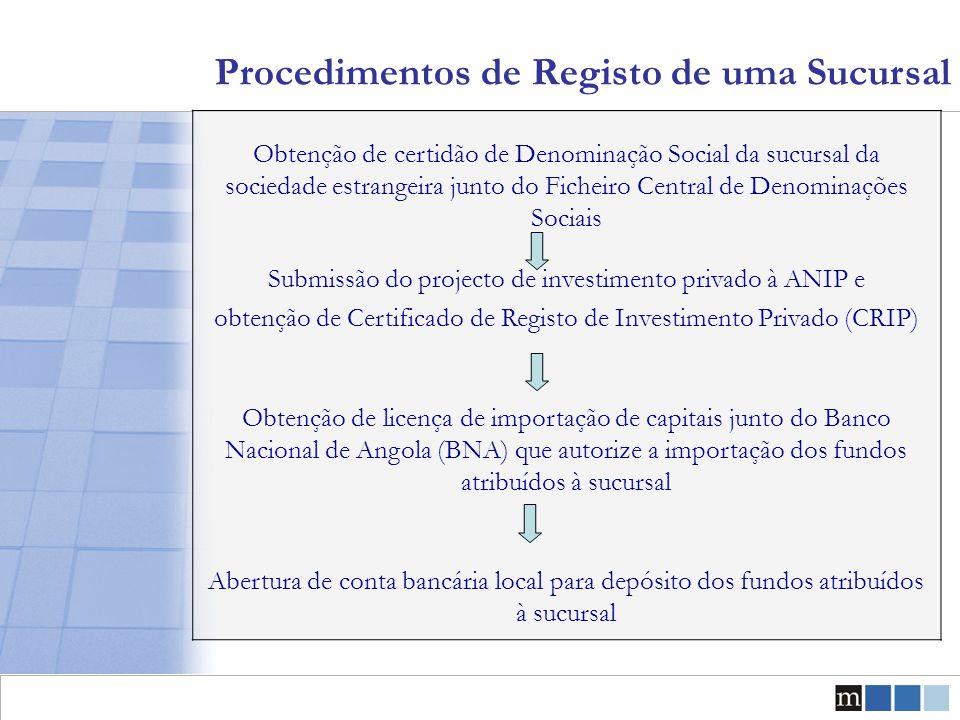 Procedimentos de Registo de uma Sucursal Obtenção de certidão de Denominação Social da sucursal da sociedade estrangeira junto do Ficheiro Central de