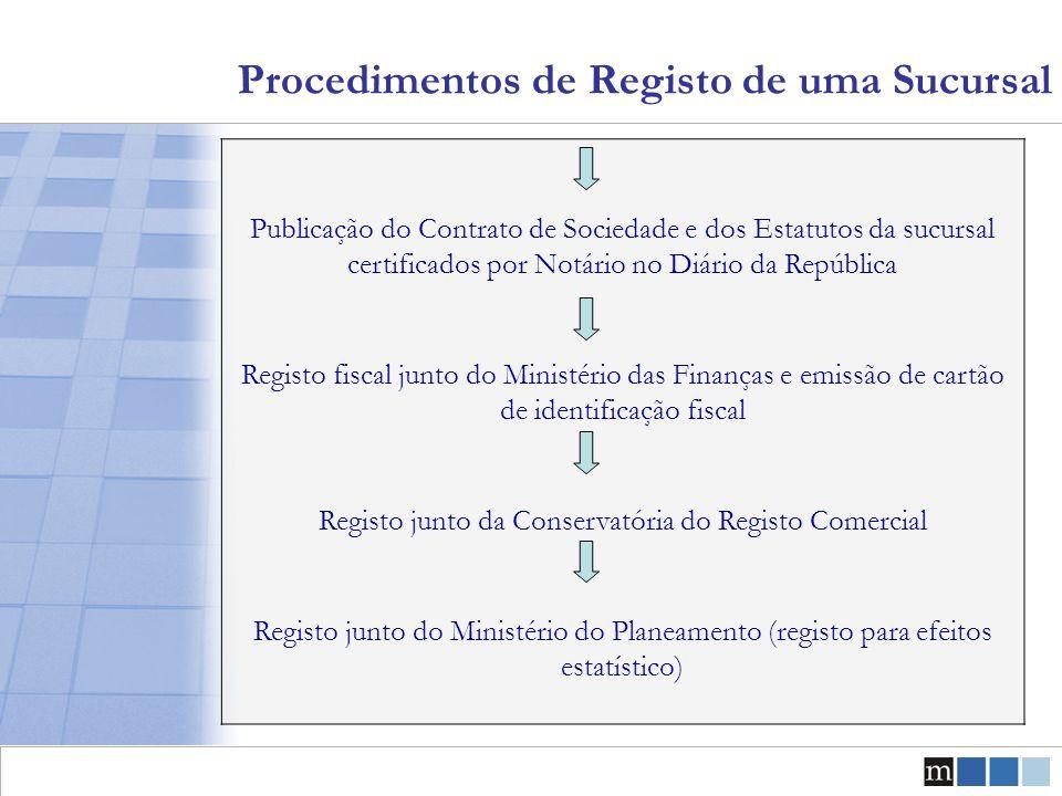 Procedimentos de Registo de uma Sucursal Publicação do Contrato de Sociedade e dos Estatutos da sucursal certificados por Notário no Diário da Repúbli