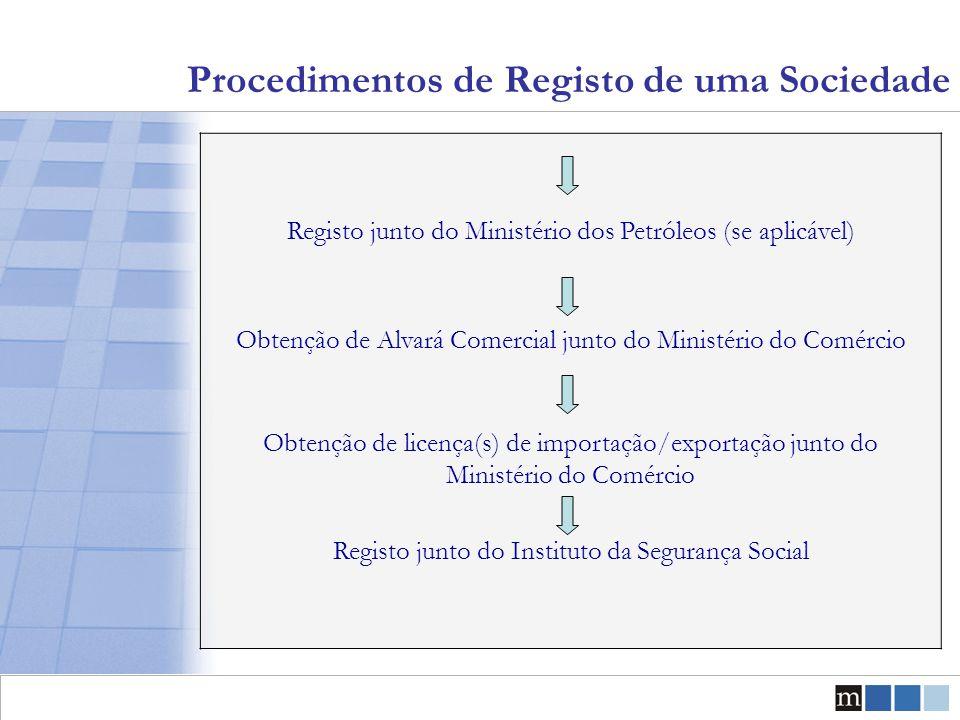 Procedimentos de Registo de uma Sociedade Registo junto do Ministério dos Petróleos (se aplicável) Obtenção de Alvará Comercial junto do Ministério do