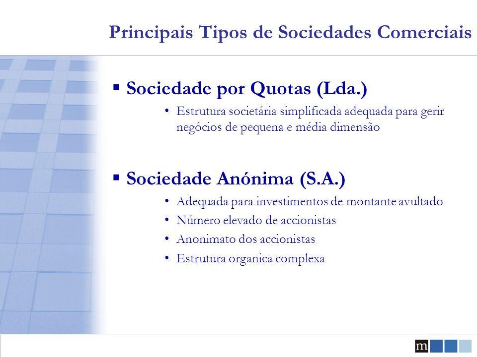 Principais Tipos de Sociedades Comerciais  Sociedade por Quotas (Lda.) Estrutura societária simplificada adequada para gerir negócios de pequena e mé
