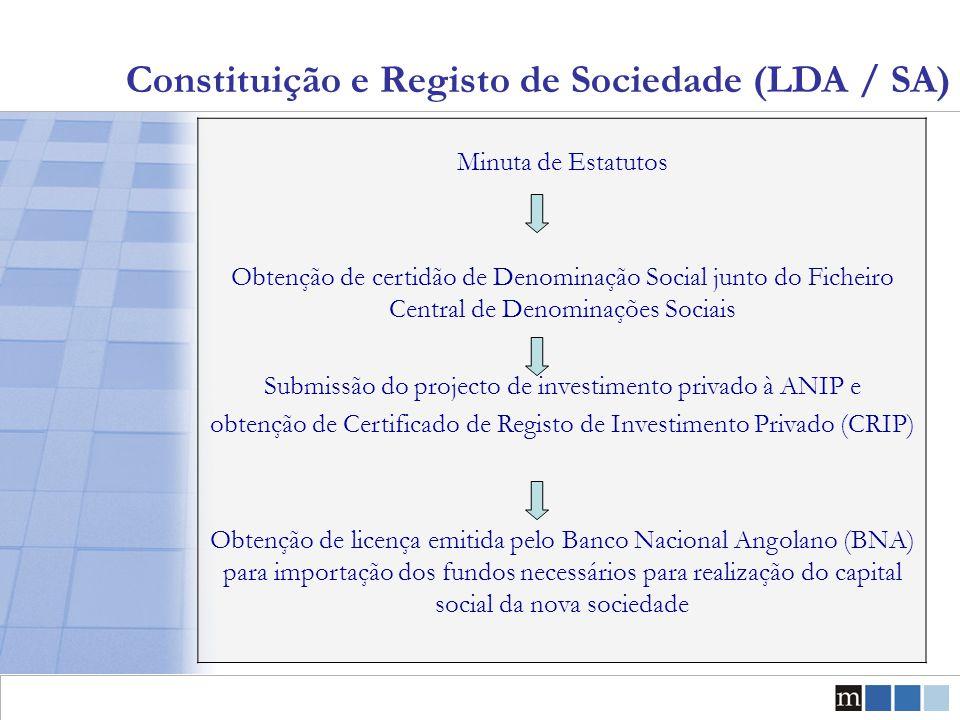 Constituição e Registo de Sociedade (LDA / SA) Minuta de Estatutos Obtenção de certidão de Denominação Social junto do Ficheiro Central de Denominaçõe