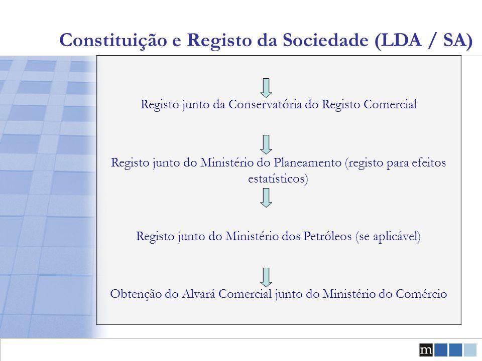 Constituição e Registo da Sociedade (LDA / SA) Registo junto da Conservatória do Registo Comercial Registo junto do Ministério do Planeamento (registo