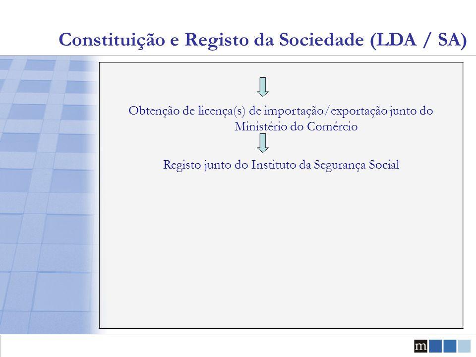 Constituição e Registo da Sociedade (LDA / SA) Obtenção de licença(s) de importação/exportação junto do Ministério do Comércio Registo junto do Instit