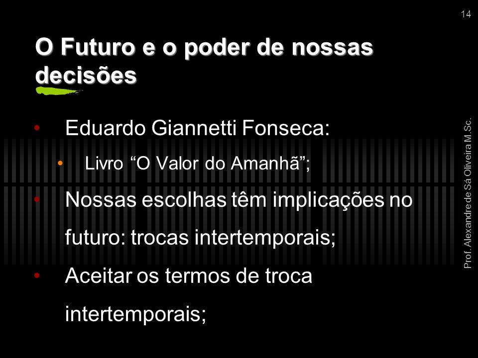 """Prof. Alexandre de Sá Oliveira M.Sc. 14 O Futuro e o poder de nossas decisões Eduardo Giannetti Fonseca: Livro """"O Valor do Amanhã""""; Nossas escolhas tê"""