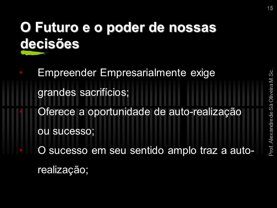 Prof. Alexandre de Sá Oliveira M.Sc. 15 O Futuro e o poder de nossas decisões Empreender Empresarialmente exige grandes sacrifícios; Oferece a oportun
