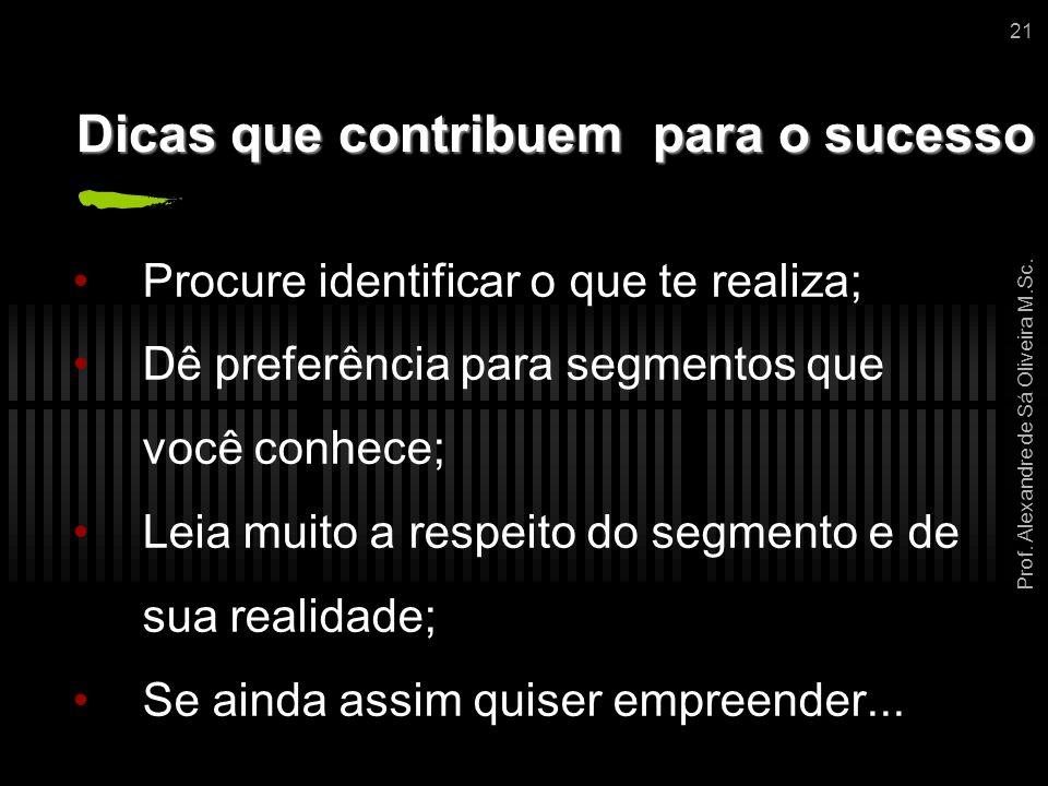 Prof. Alexandre de Sá Oliveira M.Sc. 21 Dicas que contribuem para o sucesso Procure identificar o que te realiza; Dê preferência para segmentos que vo