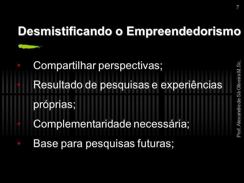 Prof. Alexandre de Sá Oliveira M.Sc. 7 Desmistificando o Empreendedorismo Compartilhar perspectivas; Resultado de pesquisas e experiências próprias; C