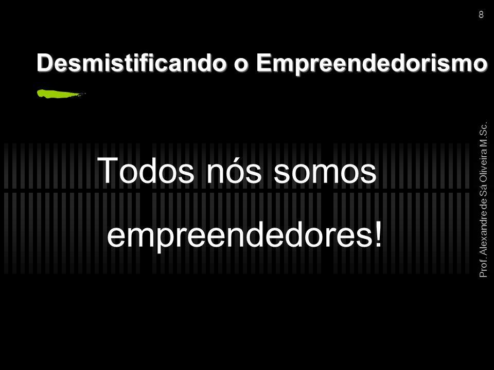Prof. Alexandre de Sá Oliveira M.Sc. 8 Desmistificando o Empreendedorismo Todos nós somos empreendedores!