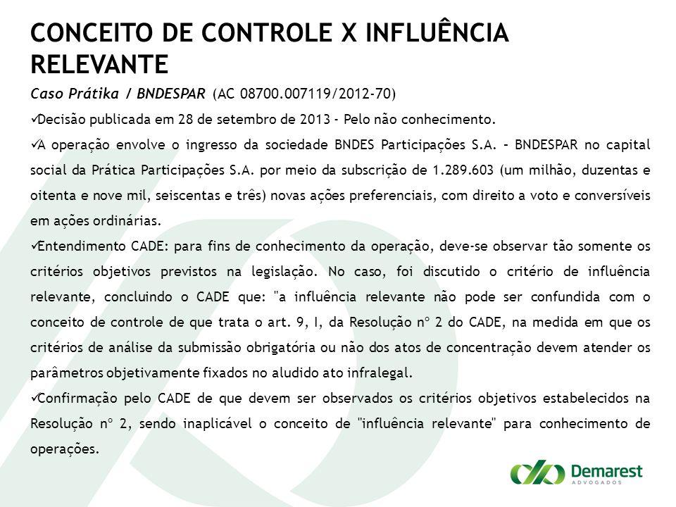 CONCEITO DE CONTROLE X INFLUÊNCIA RELEVANTE Caso Prátika / BNDESPAR (AC 08700.007119/2012-70) Decisão publicada em 28 de setembro de 2013 - Pelo não conhecimento.