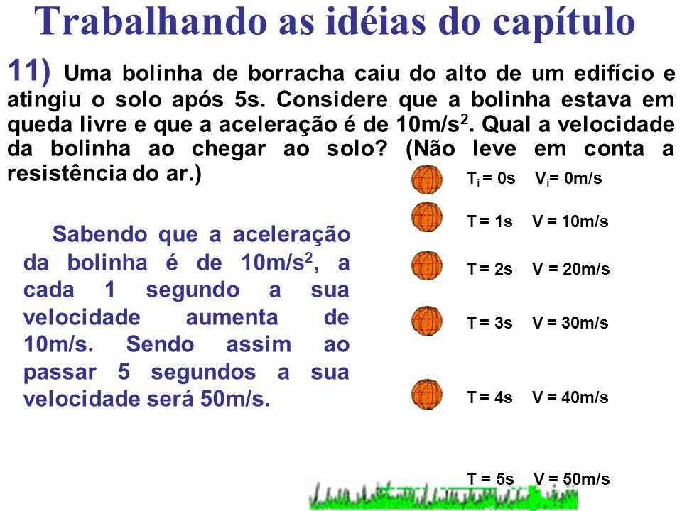 Trabalhando as idéias do capítulo 10) Quanto tempo um corpo, solto em queda livre, leva para atingir a velocidade de 20m/s?(Considere g = 10m/s 2.) Sa