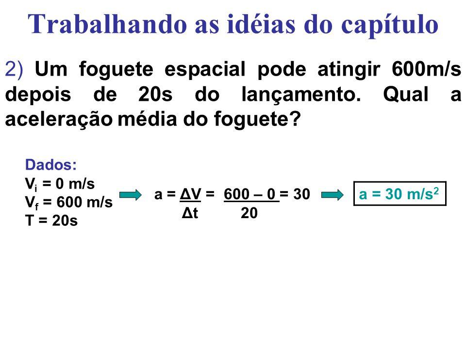 Trabalhando as idéias do capítulo 2) Um foguete espacial pode atingir 600m/s depois de 20s do lançamento.