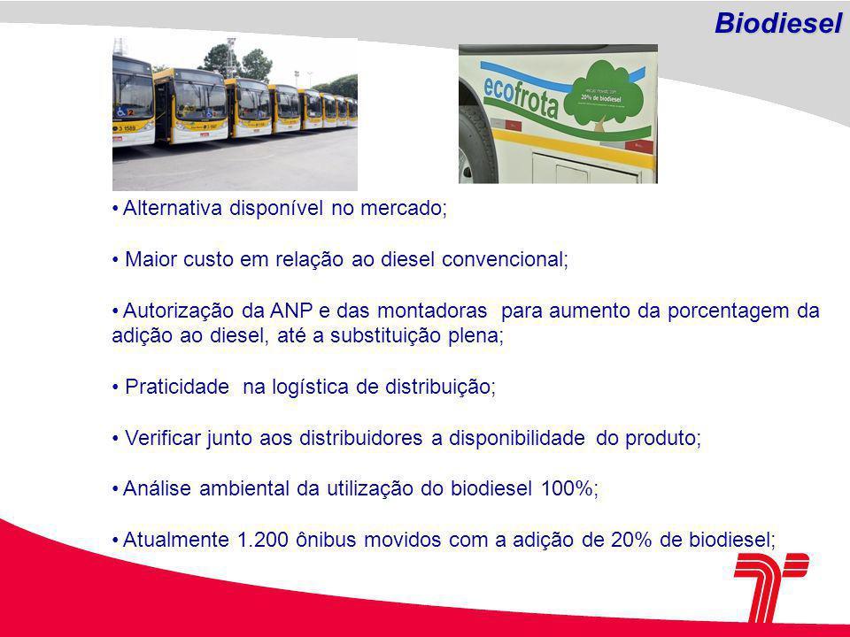 Alternativa disponível no mercado; Maior custo em relação ao diesel convencional; Autorização da ANP e das montadoras para aumento da porcentagem da adição ao diesel, até a substituição plena; Praticidade na logística de distribuição; Verificar junto aos distribuidores a disponibilidade do produto; Análise ambiental da utilização do biodiesel 100%; Atualmente 1.200 ônibus movidos com a adição de 20% de biodiesel; Biodiesel