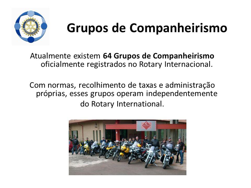 Atualmente existem 64 Grupos de Companheirismo oficialmente registrados no Rotary Internacional. Com normas, recolhimento de taxas e administração pró