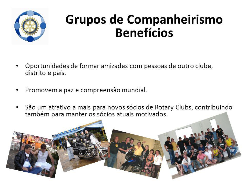 Oportunidades de formar amizades com pessoas de outro clube, distrito e país. Promovem a paz e compreensão mundial. São um atrativo a mais para novos