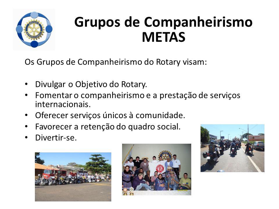 Os Grupos de Companheirismo do Rotary visam: Divulgar o Objetivo do Rotary. Fomentar o companheirismo e a prestação de serviços internacionais. Oferec
