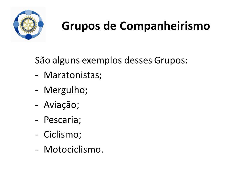 São alguns exemplos desses Grupos: -Maratonistas; -Mergulho; -Aviação; -Pescaria; -Ciclismo; -Motociclismo.