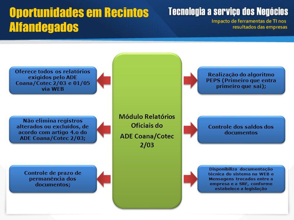 Módulo Relatórios Oficiais do ADE Coana/Cotec 2/03 Módulo Relatórios Oficiais do ADE Coana/Cotec 2/03 Realização do algoritmo PEPS (Primeiro que entra