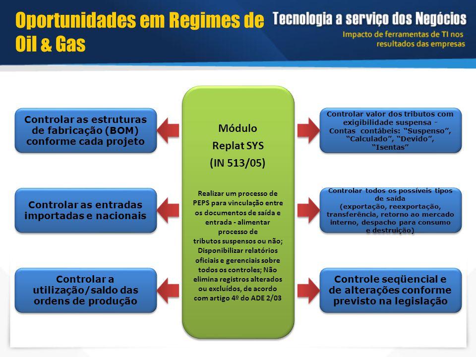Módulo Replat SYS (IN 513/05) Realizar um processo de PEPS para vinculação entre os documentos de saída e entrada - alimentar processo de tributos sus