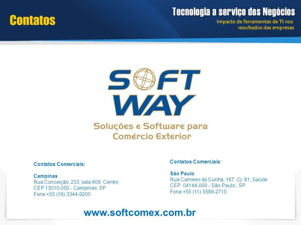 Contatos Contatos Comerciais: Campinas Rua Conceição, 233, sala 609, Centro CEP 13010-050 - Campinas, SP Fone +55 (19) 3344-9200 Contatos Comerciais: