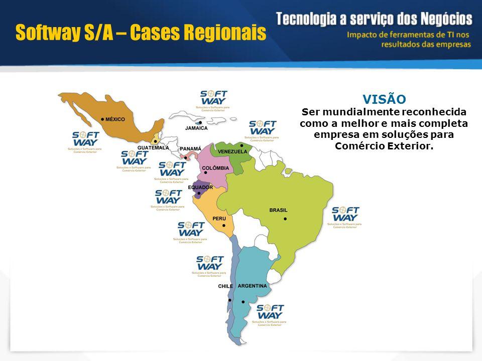 VISÃO Ser mundialmente reconhecida como a melhor e mais completa empresa em soluções para Comércio Exterior. Softway S/A – Cases Regionais