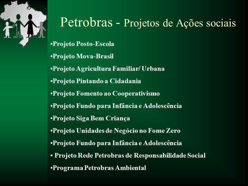 Petrobras - Projetos de Ações sociais Projeto Posto-Escola Projeto Mova-Brasil Projeto Agricultura Familiar/ Urbana Projeto Pintando a Cidadania Proje