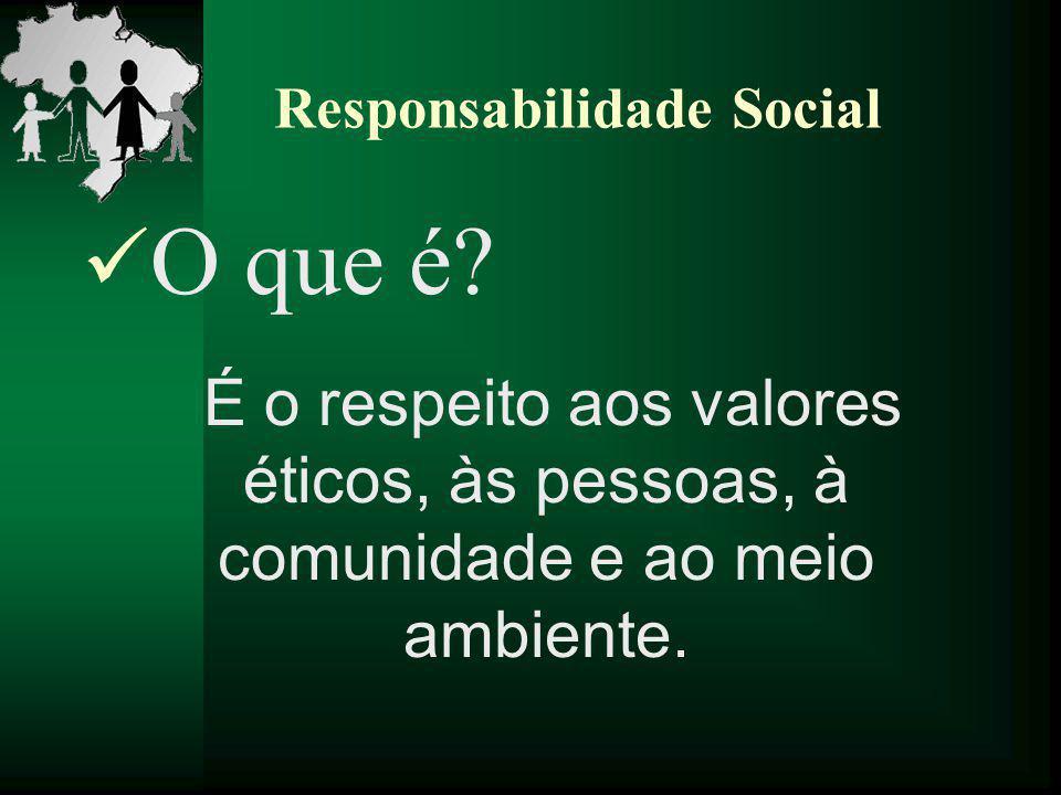 O que é? É o respeito aos valores éticos, às pessoas, à comunidade e ao meio ambiente.
