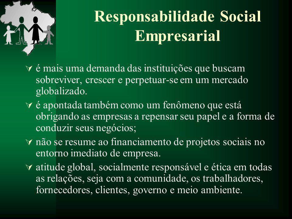 Responsabilidade Social Empresarial  é mais uma demanda das instituições que buscam sobreviver, crescer e perpetuar-se em um mercado globalizado.  é