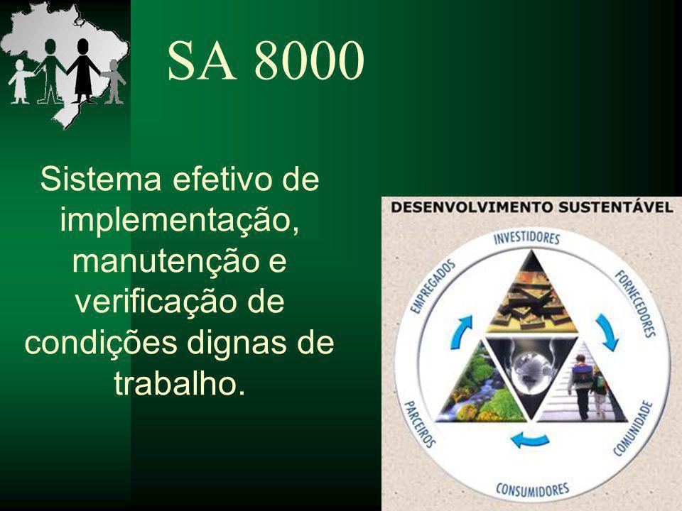 SA 8000 Sistema efetivo de implementação, manutenção e verificação de condições dignas de trabalho.