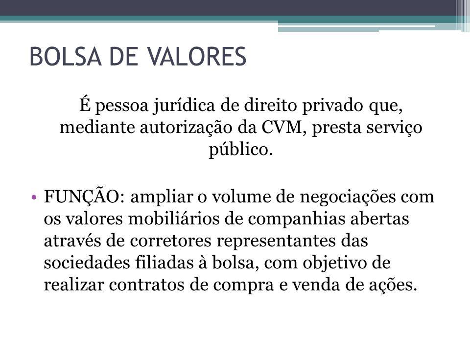 BOLSA DE VALORES É pessoa jurídica de direito privado que, mediante autorização da CVM, presta serviço público. FUNÇÃO: ampliar o volume de negociaçõe