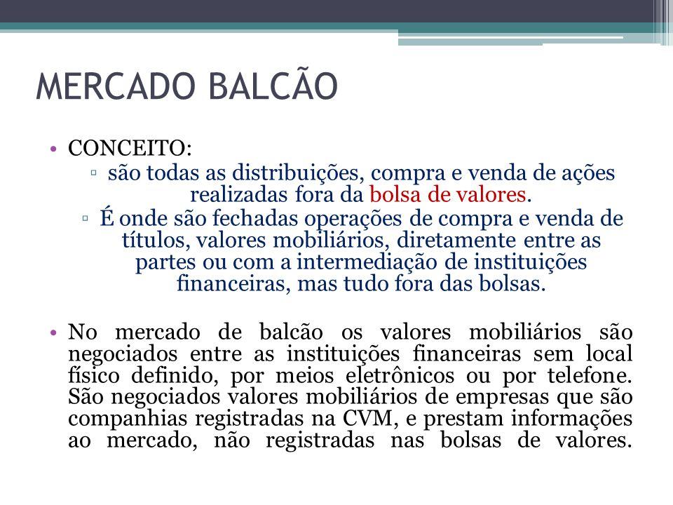 MERCADO BALCÃO CONCEITO: ▫são todas as distribuições, compra e venda de ações realizadas fora da bolsa de valores. ▫É onde são fechadas operações de c