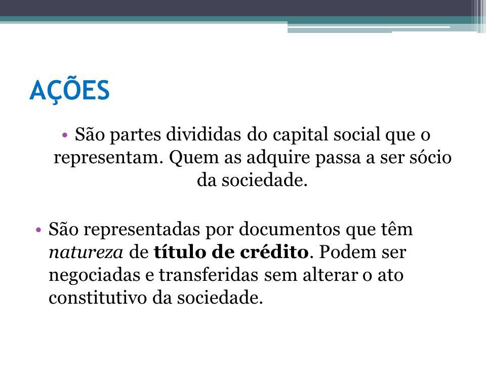 AÇÕES São partes divididas do capital social que o representam. Quem as adquire passa a ser sócio da sociedade. São representadas por documentos que t
