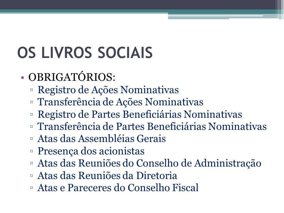 OS LIVROS SOCIAIS OBRIGATÓRIOS: ▫Registro de Ações Nominativas ▫Transferência de Ações Nominativas ▫Registro de Partes Beneficiárias Nominativas ▫Tran