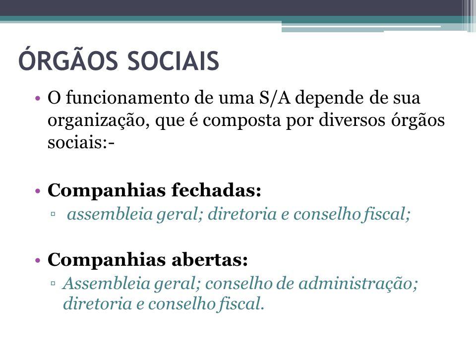 ÓRGÃOS SOCIAIS O funcionamento de uma S/A depende de sua organização, que é composta por diversos órgãos sociais:- Companhias fechadas: ▫ assembleia g