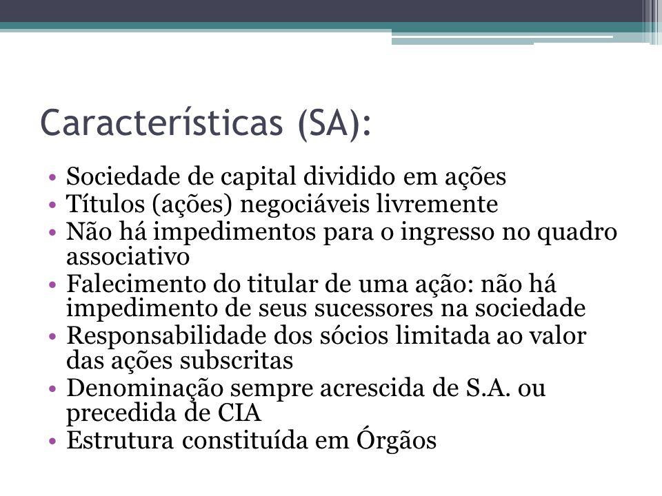 Características (SA): Sociedade de capital dividido em ações Títulos (ações) negociáveis livremente Não há impedimentos para o ingresso no quadro asso
