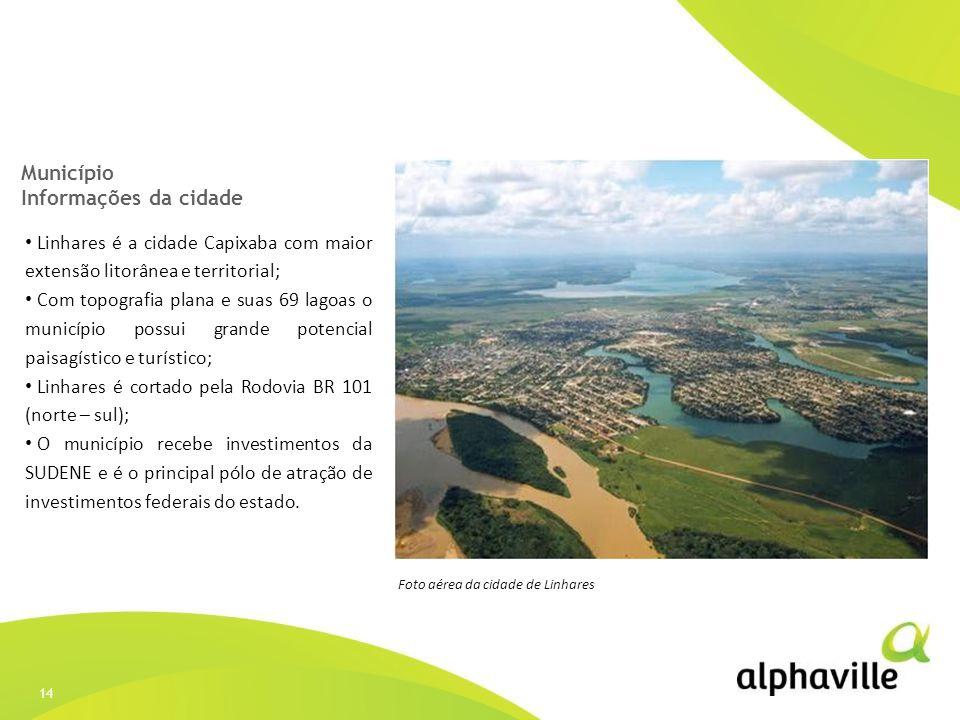 14 Município Informações da cidade Linhares é a cidade Capixaba com maior extensão litorânea e territorial; Com topografia plana e suas 69 lagoas o mu